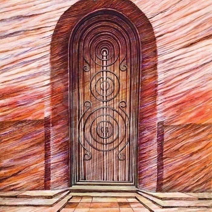 Red Door: Wood Grain