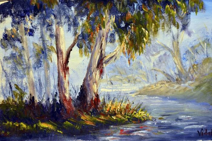 Gum Trees By The River By Christopher Vidal Paintings For