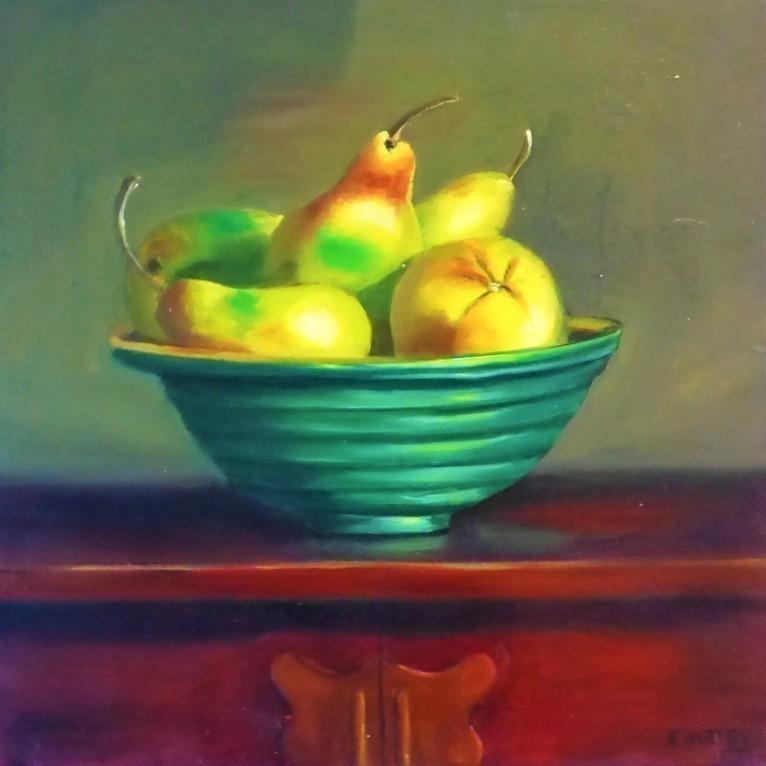 Main pears in a green bowl elizabeth varley square bluethumb art